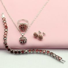 WPAITKYS Round Created Garnet Silver Plated Jewelry Sets For Women Drop Earrings Chain Bracelet Necklace Pendant Ring Free Box