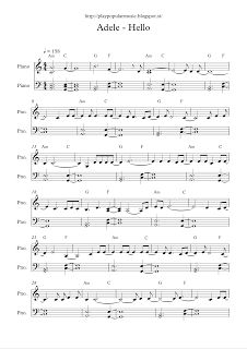 play popular music, free piano sheet music, Adele, Hello