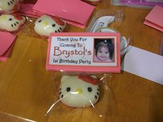 Hello Kitty party favors I made for my daughter's 1st birthday. White Chocolate covered Macadamia nut. The mold I bought from ebay.