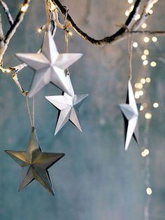 scandi christmas tree decorations, zinc hanging stars
