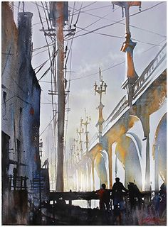 Olympic Boulevard Bridge - Los Angeles by Thomas W. Schaller Watercolor ~ 24 inches x 18 inches