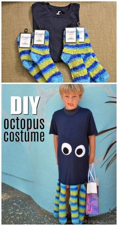 This easy DIY octopus costume is made with fun finds at our local dollar store! Animal Costumes For Kids, Kids Costumes Boys, Costumes For Teens, Boy Costumes, Easy Diy Costumes, Diy Fish Costume, Whale Costume, Octopus Costume, Red Head Halloween Costumes