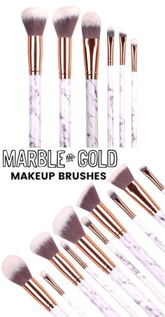Marble And Gold luxury makeup brush set perfect for contouring, foundation, eyeshadow and more! Get them at www.glowcult.com