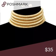 Gold Choker set Gold choker earring set. Pictures don't do it justice. Jewelry Necklaces