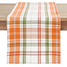 """The colors say """"fall,"""" and the material says """"practical."""" Who can argue with that? Say hello to the season in style with attractive plaid on our easy-to-care-for cotton table runner. Autumn Decorating, Decorating Your Home, Fall Decor, Thanksgiving Table Settings, Thanksgiving Decorations, Unique Home Decor, Home Decor Items, Thanksgiving Dinnerware, Business Furniture"""