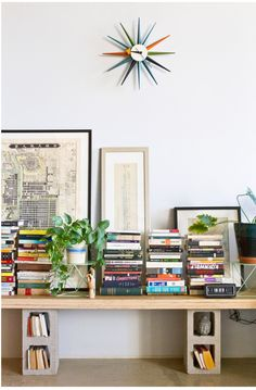 Low shelf with cinder blocks - from Victoria Cho's home on Design Sponge