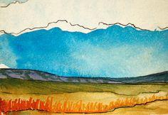 Original Watercolor Landscape on Aquabord  by ElissaSueWatercolors, $25.00