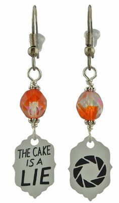 Unique Creations — Portal Inspired Earrings, computer game jewlery