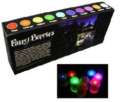 "Fortune Products FB-1G Fairy Berries Magical LED Light, 3/4"" Diameter, Green (Case of 10) by Fortune Products. $15.47. Fun, Fun and more Fun. Place these small 3/4"" diameter balls everywhere around your party venue. On the lawn, in the garden, hanging from trees, shrubs and ceilings. Their water resistant design allows for use in water features where they will float. Each one has a tiny glowing LED that fades on and off slowly. Collectively, they produce a moving firefly or..."