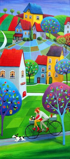 quenalbertini: Spring Riders by Iwona Lifsches Happy Art, Naive Art, Colorful Paintings, Whimsical Art, Oeuvre D'art, Art Pictures, Home Art, Amazing Art, Modern Art