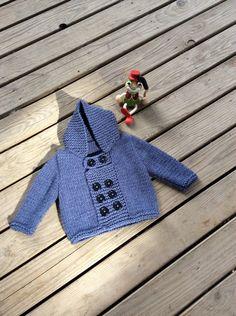 Punto bebé suéter mano de punto bebé azul Cardigan Denim