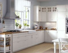 IKEA has brought back the traditional kitchen style with METOD. And, we expect IKEA will do the same for its American twin, SEKTION. Ikea Bodbyn Kitchen, Ikea Kitchen Cabinets, Ikea Kitchen Design, White Cabinets, Kitchen Furniture, Glass Cabinets, Upper Cabinets, Maple Cabinets, Apartment Furniture