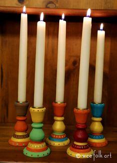 Autumn Candlesticks | Wee Folk Art