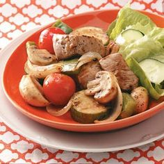 Healthy dinner skewerless kabobs. These are pork, but could easily be made with chicken or even shrimp.