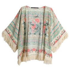 SheIn(sheinside) Apricot Half Sleeve Floral Tassel Cape Top (219.585 IDR) ❤ liked on Polyvore featuring tops, shirts, cardigans, jackets, outerwear, multicolor, half sleeve shirts, half sleeve top, kimono top and colorful shirts