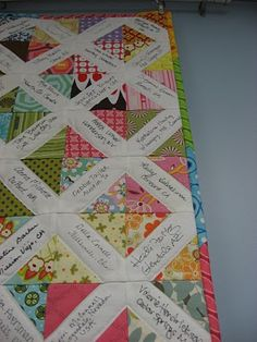 Baby shower quilt- guests sign their names