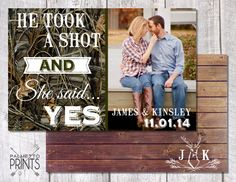 Hey, I found this really awesome Etsy listing at https://www.etsy.com/listing/127061199/he-took-a-shot-and-she-said-yes-wedding
