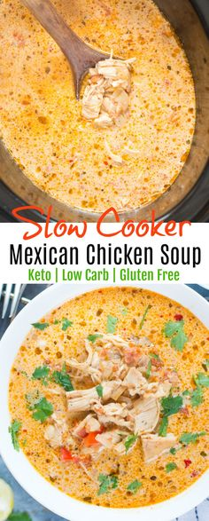 Slow Cooker Mexican Chicken Soup - Keto - Low Carb 8 Indulgent Low Carb Crockpot or Slowcooker Ideas…More 6 Guilt Free Low Carb Crockpot Recipes Ketogenic Recipes, Diet Recipes, Cooking Recipes, Healthy Recipes, Healthy Fats, Low Carb Crockpot Recipes, Low Carb Soups, Low Carb Crockpot Chicken, Vegetarian Recipes