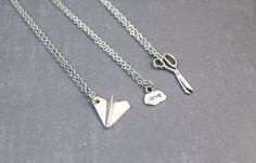 Rock Paper Scissors Necklace - Friendship Pendant - Best Friend Jewelry - 3 Way Friendship - Best Friend Gift by DoodieBear on Etsy https://www.etsy.com/listing/192307165/rock-paper-scissors-necklace-friendship