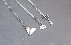 Rock Paper Scissors Necklace - Friendship Pendant - Best Friend Jewelry - 3 Way Friendship - Best Friend Gift by DoodieBear on Etsy https://www.etsy.com/listing/192307165/rock-paper-scissors-necklace-friendship