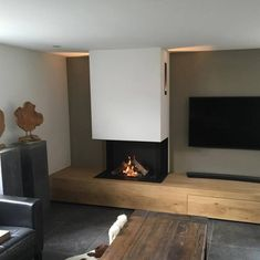 fireplace under bench Narrow Living Room, Living Room Tv, Living Room With Fireplace, Home And Living, Fireplace Tv Wall, Fireplace Design, Home Decor Furniture, Living Room Designs, New Homes
