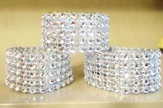 BLING linen napkin holders rings circles rhinestone mesh wedding BEAUTIFUL classy silver cuffs - Must have! Only $33 for 75!