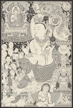 Black & white Avalokitesvara thangka, or paubha, painting is by Nepal's foremost artist, Mukti Singh Thapa. Original and Collector's Edition prints available.