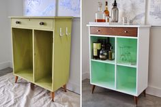 Shabby old cabinets can still find new life, like in this blah-to-amazing makeover from blogger Nicole of Visual Heart. A fresh coat of white paint, some natural wood, extra cabinets, and the slightest hint of green make it really pop. Get the directions at Visual Heart »   - HouseBeautiful.com