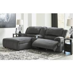 Clonmel Charcoal Small Console Reclining LAF Sectional - ASL-3650505-SEC5 Online Furniture Stores, Furniture Manufacturers, Reclining Sectional With Chaise, Pop Up Trundle, Ashley Sofa, Types Of Sofas, Seat Storage, New Beds, Signature Design