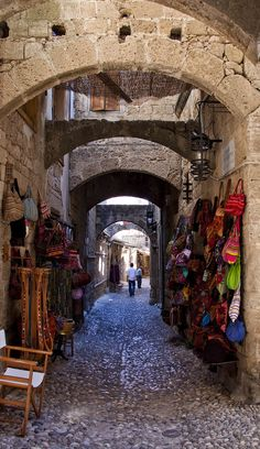 Shops in Rhodes old town, Greece http://www.yourcruisesource.com/two_chefs_culinary_cruise_-_istanbul_to_athens_greek_isles_cruise.htm