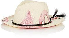 Shop Now - >  https://api.shopstyle.com/action/apiVisitRetailer?id=608869463&pid=uid6996-25233114-59 Ibo Maraca Women's Flamingo Hand-Painted Straw Panama Hat  ...