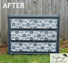 Girly dresser makeover with lace stenciled drawer fronts