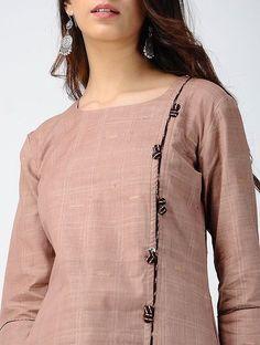 Beige Striped Handloom Cotton Kurta
