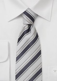 Striped Silk Tie in Bright White, Silver, and Gray