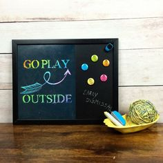 Magnetic Chalkboard - Go Play Outside Wall Decor - Family Command Center - Appointment Board - Family Notes - Menu Planner - Kitchen Decor