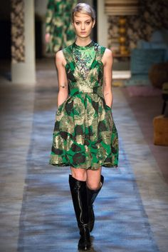 Green floral dress. Erdem Fall 2015 RTW Runway – Vogue