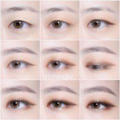 The eyes looks like Namjoon - Korean Makeup Look, Korean Makeup Tips, Asian Eye Makeup, Korean Makeup Tutorials, Ulzzang Makeup Tutorial, Monolid Eyes, Monolid Makeup, Beauty Makeup, Namjoon