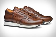 The Callum - Moral Code Leather Trainers, Leather Sneakers, Dress With Sneakers, Leather Material, Business Casual, Nice Dresses, Footwear, Lace Up, Coding