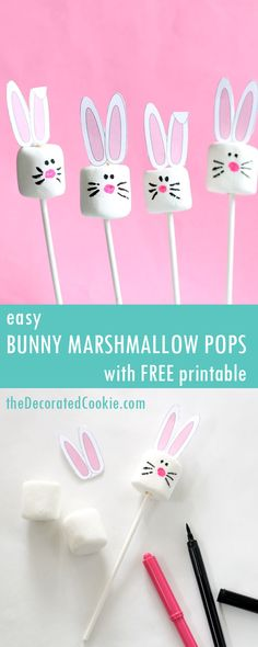 easy Easter bunny marshmallow pops with FREE printable via The Decorated Cookie - edible gift and themed kids craft spring dessert table idea