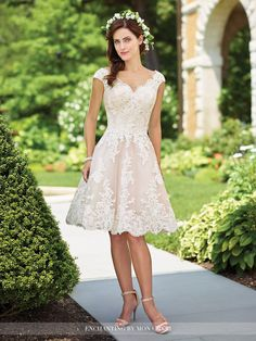 117185 - Tulle, organza and lace knee-length A-line dress with cap sleeves, front and back scalloped deep V-necklines, scalloped hemline.