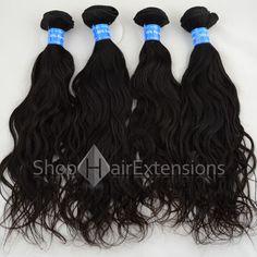 Unprocessed 4Pcs/Lot Same Length Natural Black (#1B) Virgin Peruvian Remy Hair Bundles Natural Wavy 400g
