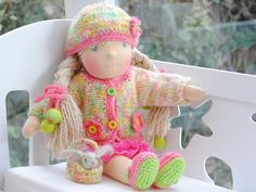 "15""( 38 cm) pink cotton dress, knitted sweater, shoes and cup, crochet flowers"