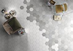 Mate Porcelain Tile by Blend the looks of natural stone and cement. Hexagon tiles, chevron tiles and field tiles. Floor Patterns, Tile Patterns, Floor Design, Tile Design, Timber Tiles, Transition Flooring, Contemporary Tile, Tile Suppliers, Hexagon Tiles