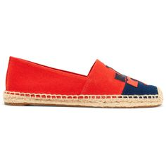 Tory Burch Jamie two-tone embroidered canvas espadrilles ($125) ❤ liked on Polyvore featuring shoes, sandals, red, embroidery caps, embroidered caps, embroidered sandals, slip on espadrilles and red canvas shoes
