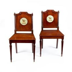 A pair of Regency mahogany hall chairs attributed to Gillows of Lancaster - Millington Adams