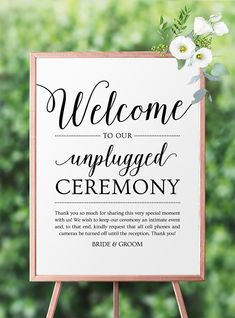 Unplugged Ceremony Sign Wedding Printable by MyCrayons Design // Wedding Welcome Sign, Unplugged Ceremony, Unplugged Wedding #diywedding #unplugged #welcomesign