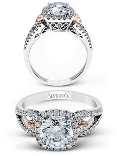 Simon G. Jewelry 2017  Spring 2017 Jewelry Trends You'll Love wedding trends diamond engagement ring mr1828 white rose gold halo ring pink diamonds setting -- #wedding #bridal #engagementring #ring #jewelry #rosegold #diamond #luxury #pinkdiamond #haloe
