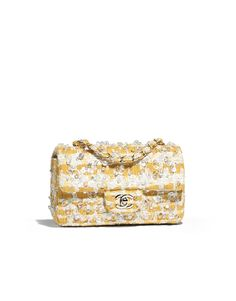 Mini flap bag, embroidered tweed & gold-tone metal-yellow & white - CHANEL