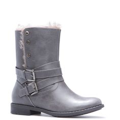 ShoeDazzle Booties Jordanne Womens Gray ❤ liked on Polyvore featuring shoes, boots, ankle booties, booties, grey, grey buckle boots, wrap boots, gray booties, grey boots and fur-trimmed boots