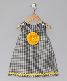 Take a look at this Black Checkerboard Flower Jumper - Infant, Toddler & Girls by Peppermint Pony on today! Toddler Girl Dresses, Little Girl Dresses, Girls Dresses, Toddler Girls, Baby Girl Frocks, Frocks For Girls, Baby Clothes Patterns, Clothing Patterns, Baby Dress